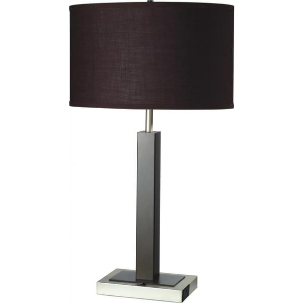 Single Light Espresso Brown Metal Table Lamp With Outlet Base Free Shipping Today 9003854