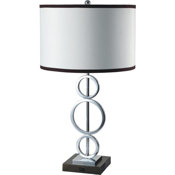 single light silver 3 ring table lamp with outlet base. Black Bedroom Furniture Sets. Home Design Ideas