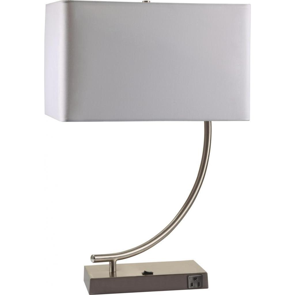 Shop Single Light Contemporary Chrome Table Lamp With Outlet Base Overstock 9003857