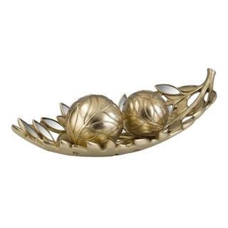 Gaia 20.5-inch Gold Decorative Bowl with Spheres