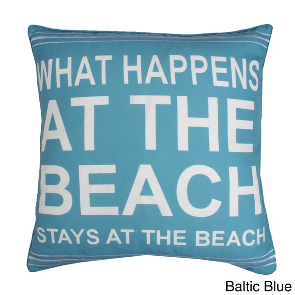 What Happens at Beach Feather Fill Throw Pillow