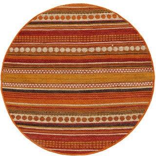 Hand-woven Sindhi Rust Jute Rug (6' x 6' Round)