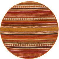 Hand-woven Sindhi Rust Jute Round Rug - 8'
