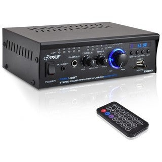 PyleHome PCAU48BT Mini Blue Amplifier - 2 Channel USB Charge Port, USB/SD Memory Card Readers, RCA and AUX