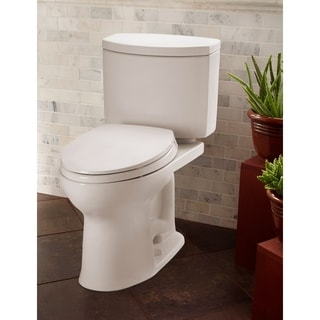 Toto Drake II Two-Piece Elongated 1.28 GPF Universal Height Toilet with CeFiONtect, Cotton White (CST454CEFG#01)