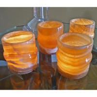 Handmade Bamboo Forest Alabaster Candle Holders (Egypt)