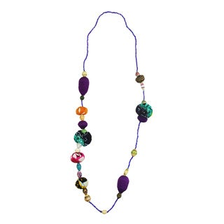 Handmade Passion Purple Beaded Fashion Necklace (Rwanda)