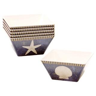 Hand-painted Coastal Moonlight 6-inch Melamine Ice Cream Bowls (Set of 6)