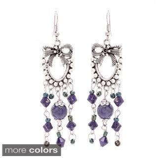 Handmade Antiqued SIlver Beaded Ribbon Chandelier Earrings (USA)