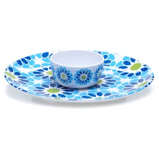 Hand-painted Mediterranean 2-piece Melamine Chip and Dip Serving Set