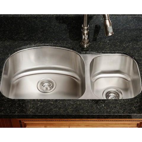 Polaris Pl105-16 Gauge Offset Double Bowl Stainless Steel Sink