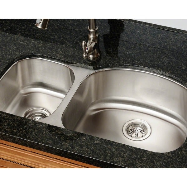 Polaris Sinks PR105-18 Offset Double Bowl Stainless Steel Kitchen Sink