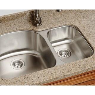 Polaris Sinks PL1213-18 Offset Double Bowl Stainless Steel Kitchen Sink