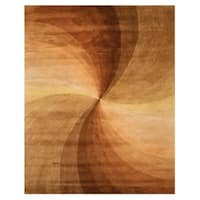 Hand-tufted Wool Brown Contemporary Abstract Swirl Rug - 8'9 X 11'9