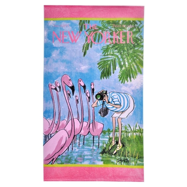 The New Yorker Flamingo Beach Towel