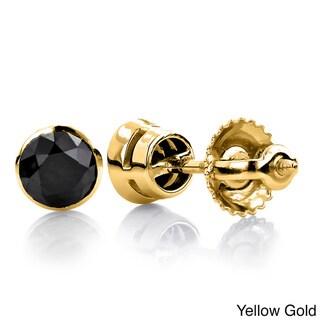 Luxurman 14k Gold 1ct TDW Black Diamond Stud Earrings
