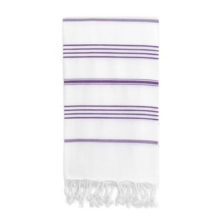 Authentic Pestemal Fouta Original White/ Purple Stripe Turkish Cotton Bath/ Beach Towel