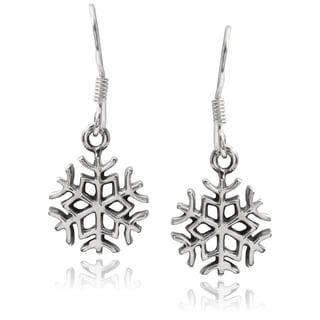 Journee Collection Sterling Silver Snowflake Hook Earrings