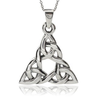 Journee Collection Sterling Silver Large Celtic Triangle Pendant