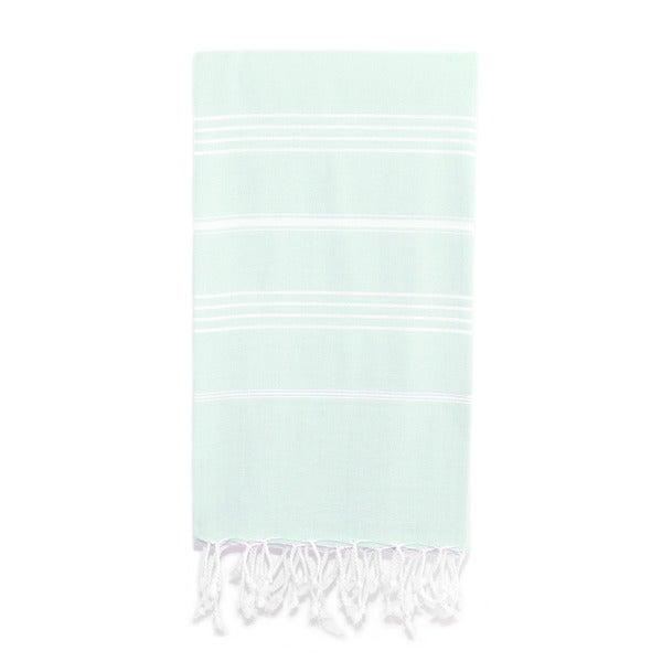 Authentic Pestemal Fouta Original Aqua Blue/ White Stripe Turkish Cotton Bath/ Beach Towel