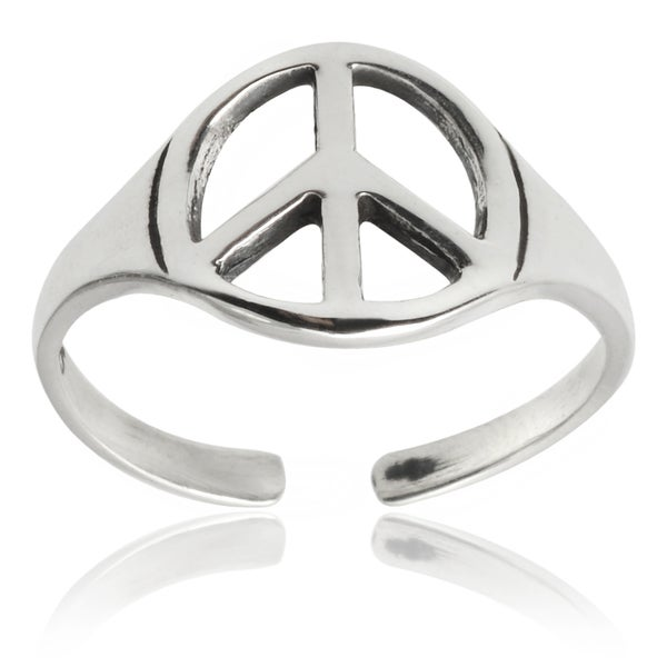 Journee Collection Sterling Silver Peace Sign Toe Ring
