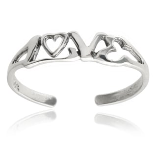 Journee Collection Sterling Silver 'Love' Toe Ring