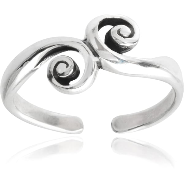 Journee Collection Sterling Silver Swirl Toe Ring