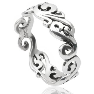 Journee Collection Sterling Silver Swirl Band