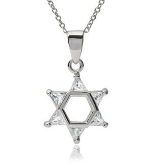 Journee Collection Sterling Silver Cubic Zirconia Star of David Pendant