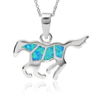 Journee Collection Sterling Silver Opal Horse Pendant