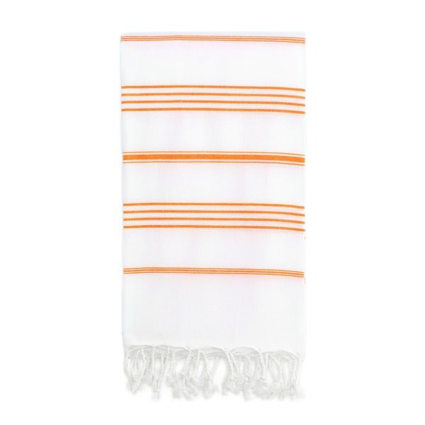 Authentic Pestemal Fouta Original White and Dark Orange Stripe Turkish Cotton Bath/ Beach Towel