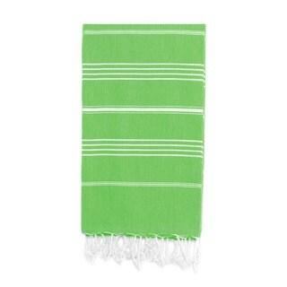 Authentic Pestemal Fouta Original Emerald Green and White Stripe Turkish Cotton Bath/ Beach Towel