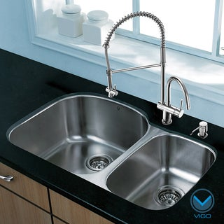 VIGO All-In-One 31 Braddock Stainless Steel Double Bowl Undermount Sink Set (Left) With Dresden Faucet In Stainless Steel