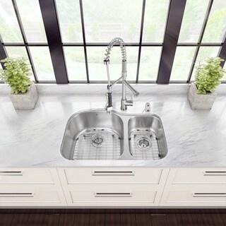 Vigo 31-inch Undermount Double Bowl Kitchen Sink and Faucet Set