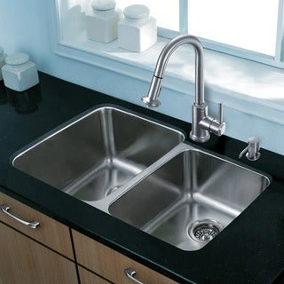 "VIGO All-In-One 32"" Rosewood Stainless Steel Double Bowl Undermount Kitchen Sink (Left) Set With Astor Faucet"