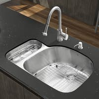 VIGO All-in-One 32-inch Stainless Steel Undermount Kitchen Sink and Harrison Stainless Steel Faucet Set