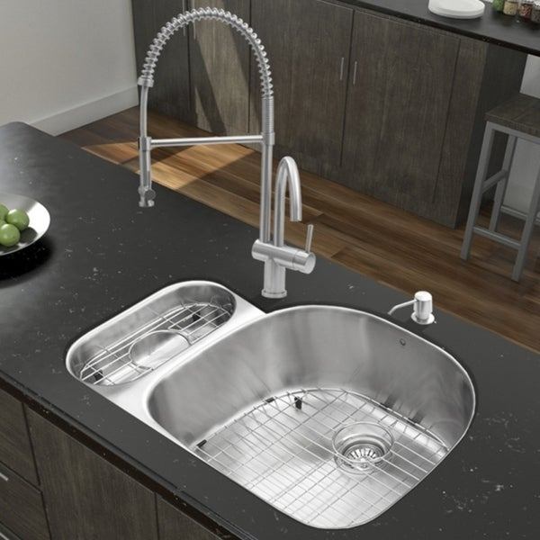 VIGO Fulton Stainless Steel Kitchen Sink and Dresden Faucet Set