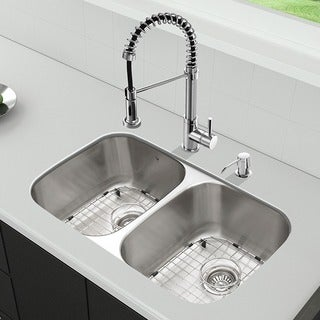 VIGO All-in-One 32-inch Stainless Steel Undermount Kitchen Sink and Edison Chrome Faucet Set
