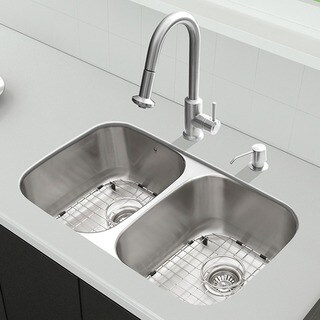 "VIGO All-In-One 32"" Rumford Stainless Steel Double Bowl Undermount Kitchen Sink Set With Astor Faucet"