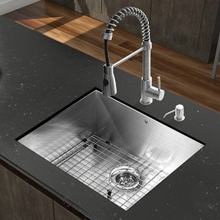 VIGO All-in-One 23-inch Stainless Steel Undermount Kitchen Sink and Brant Stainless Steel Faucet Set