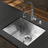 VIGO All-in-One 23-inch Stainless Steel Undermount Kitchen Sink and Edison Chrome Faucet Set