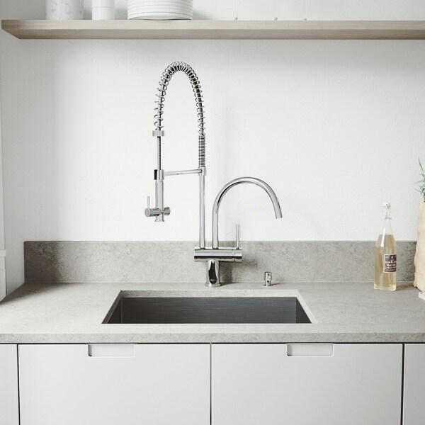 VIGO Ludlow Stainless Steel Kitchen Sink and Dresden Faucet Set