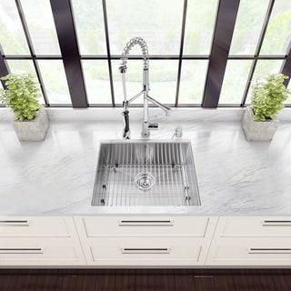 VIGO All-in-One 23-inch Stainless Steel Undermount Kitchen Sink and Zurich Chrome Faucet Set - Stainless Steel