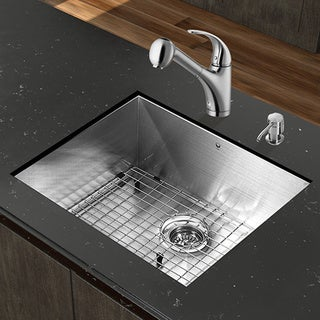 VIGO All-in-One 23-inch Stainless Steel Undermount Kitchen Sink and Alexander Stainless Steel Faucet Set