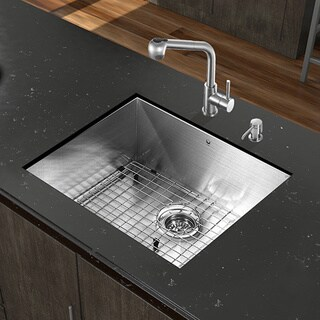 VIGO All-in-One 23-inch Stainless Steel Undermount Kitchen Sink and Avondale Stainless Steel Faucet Set