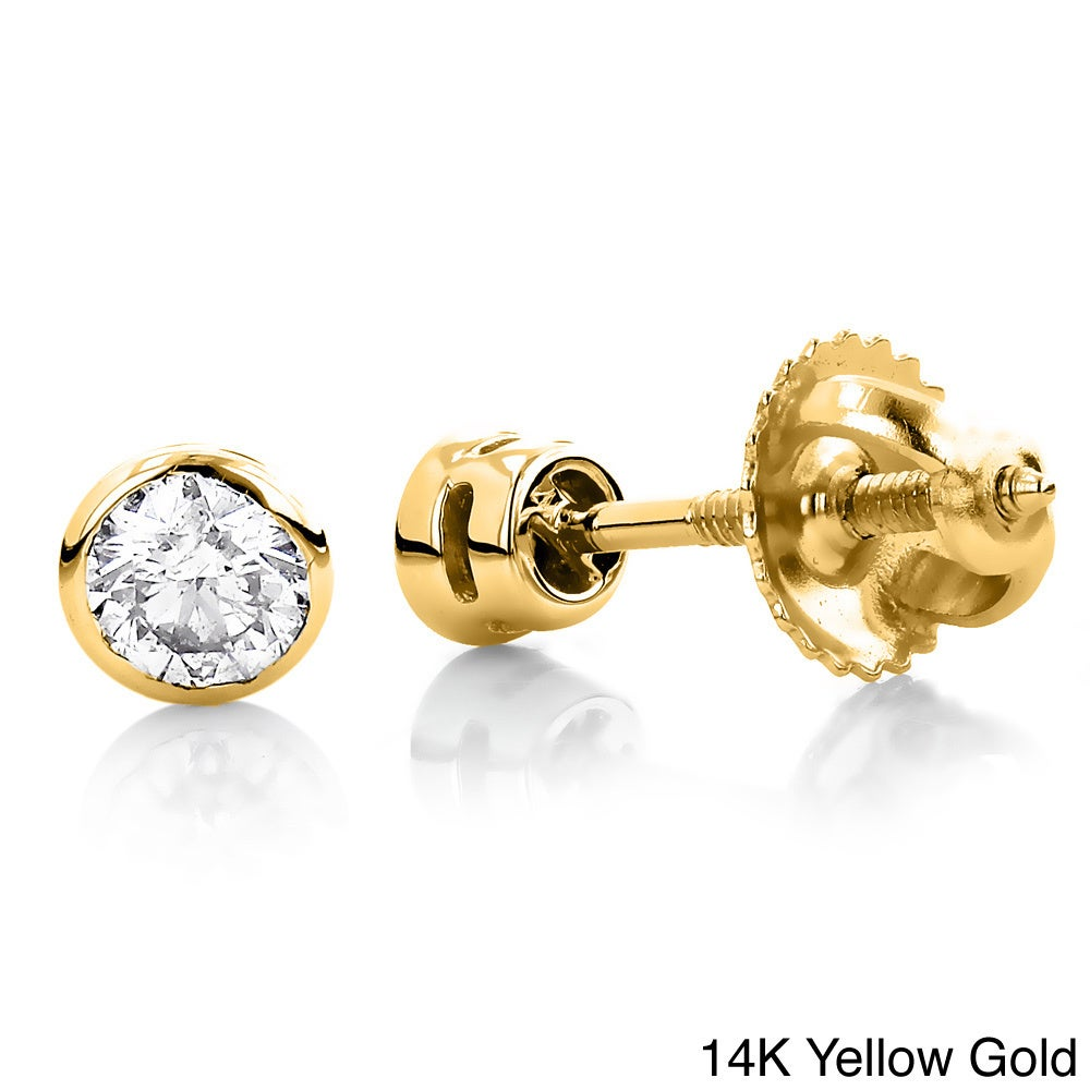 33db4dcb859506 Details about Luxurman 14k Gold 1/4ct TDW Diamond Round Bezel Stud Earrings