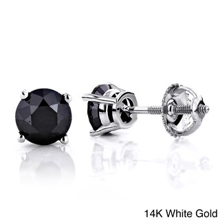 Luxurman 14k Gold 1 1/2ct TDW Black Diamond Prong Set Stud Earrings (3 options available)