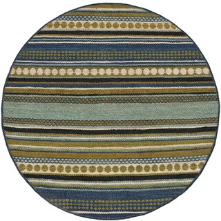 Hand-woven Sindhi Blue Jute Rug (6' Round)