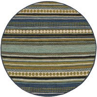 Hand Woven Matador Grey Leather Rug 6 Round Free
