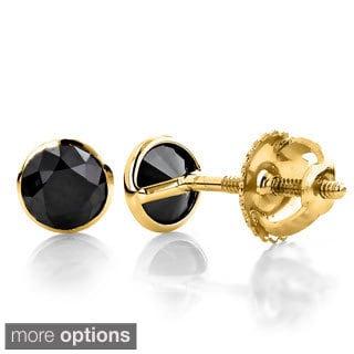 Luxurman 14k Yellow Gold 3/4ct Round Black Bezel-set Diamond Stud Earrings
